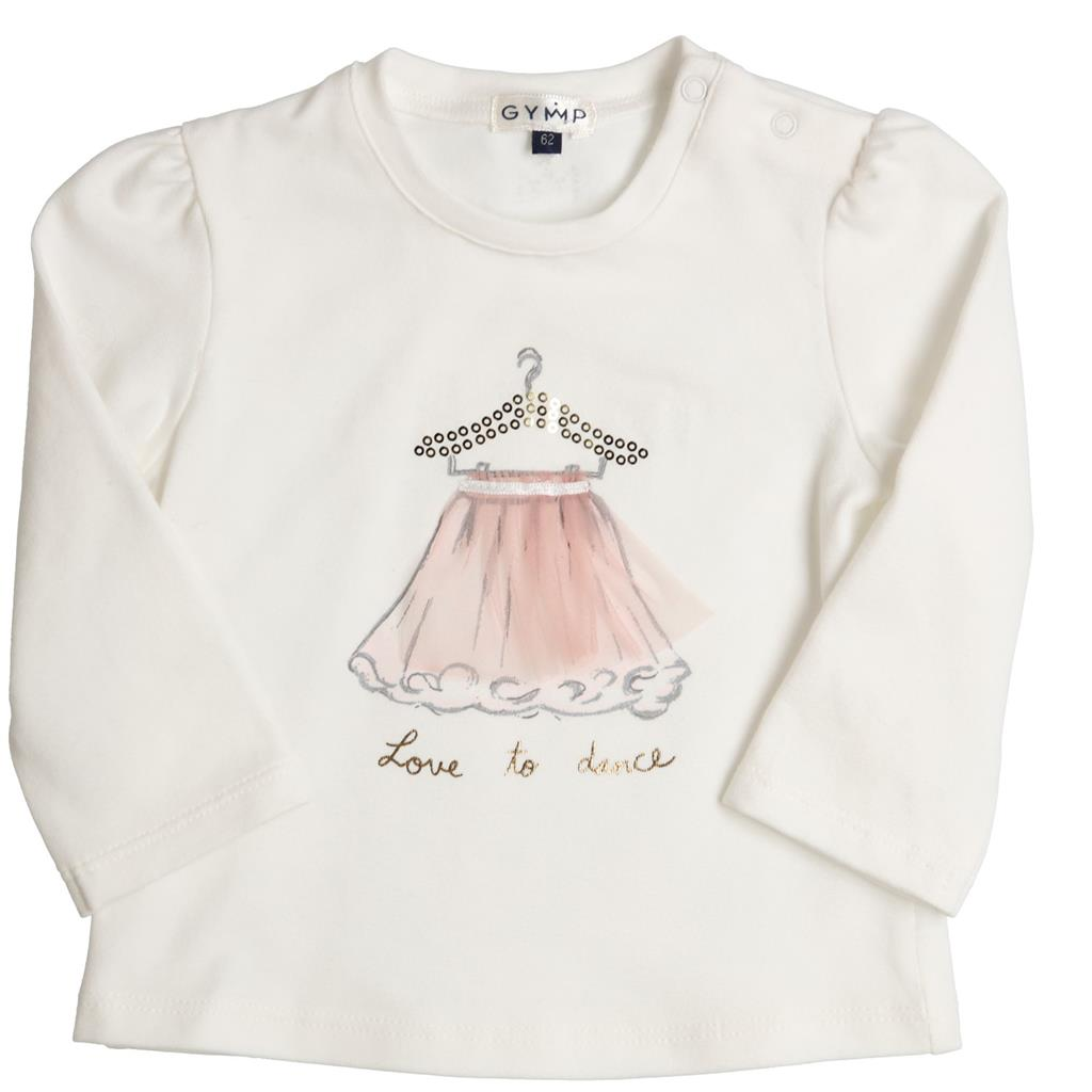 T-shirt love to dance Gymp Préminimes - off-white/rose