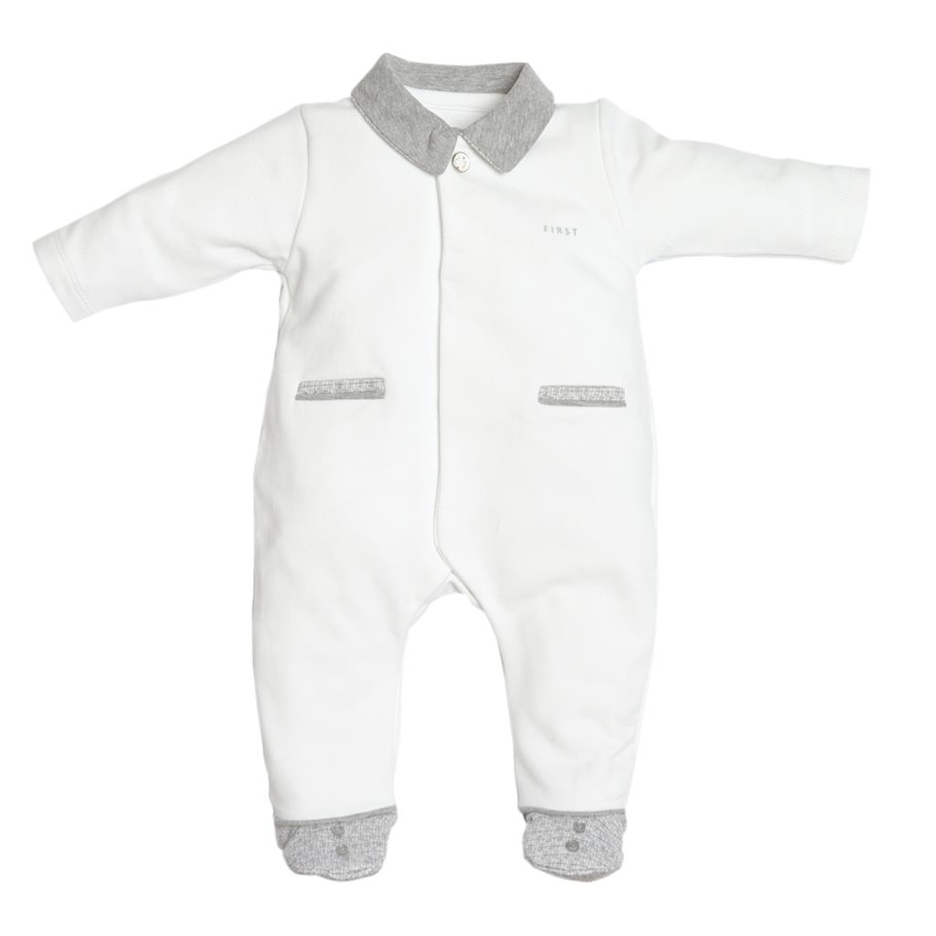 Pyjama teddy on back First - white-grey