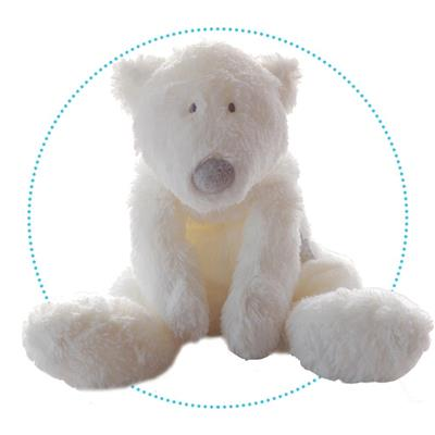 Knuffel 40 cm baby ijsbeer P'Timo Dimpel - wit