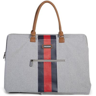 Verzorgingstas mommy bag big Childhome - canvas grey (stripes red-blue)