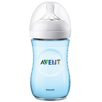 Zuigfles 260ml natural 2.0 Avent - blauw