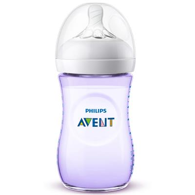 Zuigfles 260ml natural 2.0 Avent - paars