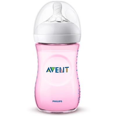 Zuigfles 260ml natural 2.0 Avent - roze