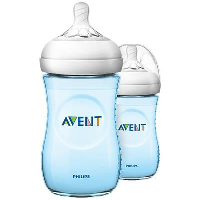 Zuigfles 260ml duo natural 2.0 Avent - blauw