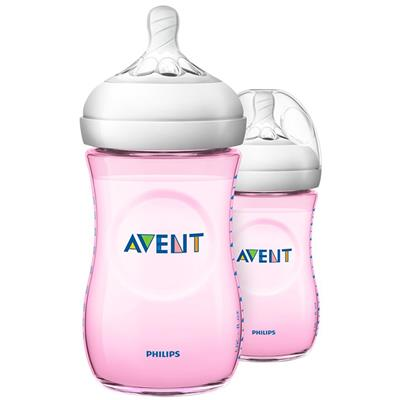 Zuigfles 260ml duo natural 2.0 Avent - roze