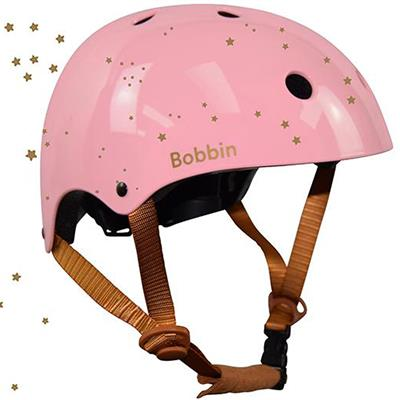 Helm starling (small/medium) Bobbin - blossom pink gold stars