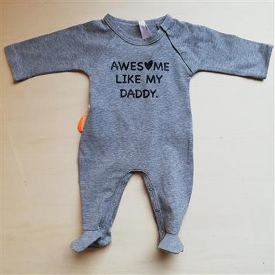 Babypakje awesome like my daddy Egomaniac - grijs-zwart