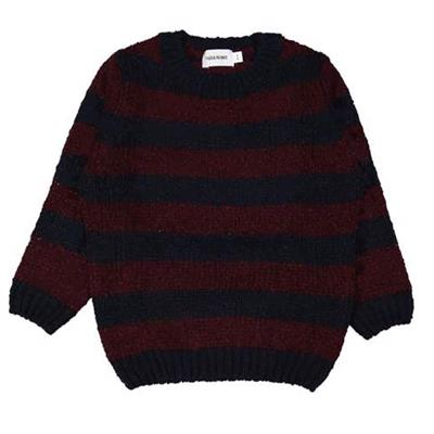 Pull tricot big stripe Filou - bordeaux
