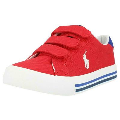 Schoen Evanston Ralph Lauren - red canvas - royal w white pp