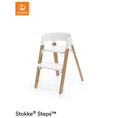 Eetstoel Steps™ Stokke® - white seat - oak natural legs