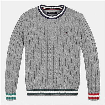Sweater cable Tommy Hilfiger - mid grey htr