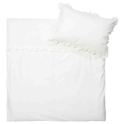 Donsovertrek ruffle Koeka - warm white